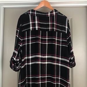 Lane Bryant Tops - Lane Bryant black plaid hi low top